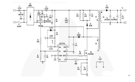 一款由七只晶体管和多只电阻构成的功率集成器件的TRIAC调光LED驱动器电路图