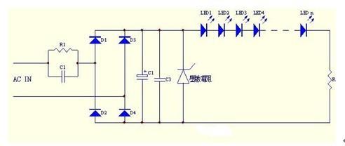 一款体积小﹑成本低﹑电流相对恒定的电容降压LED驱动电路图