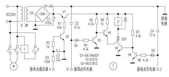 一款把水路和地阻作为三极管偏置电路一部分的自动增压水泵设计方案电路图
