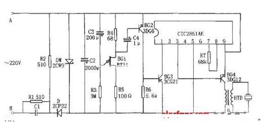 一款输出的音频信号经BG4放大后,驱动HTD发出声响的电饭煲饭熟报知器电路图