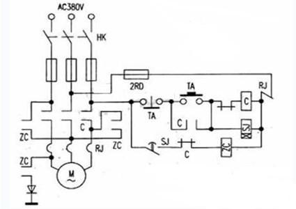 一款选择电容C容量的大小可改变制动时间的长短的电动机能耗制动电路图