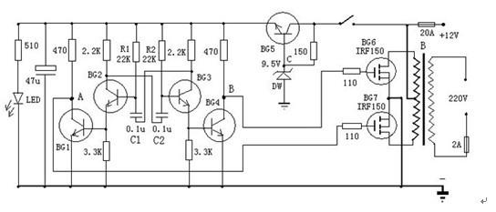 一款非常容易制作可以利用到家庭自用的小型发电机上的晶体管逆变器电路图