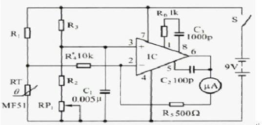 一款由专用集成电路及其他电子元器件组成的电子体温计电路图