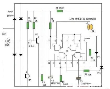 防误触发声控灯电路图