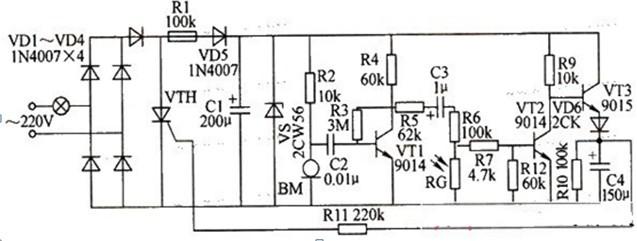 一款由三端低压直流电源构成的结构简单的光敏电阻延时节电开关电路图