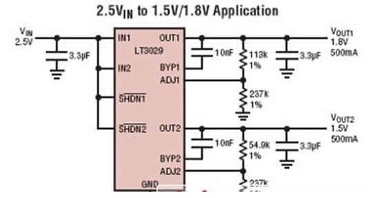 一款雙通道、微功率、低噪聲、低壓差線性穩壓器的LT3029應用電路圖