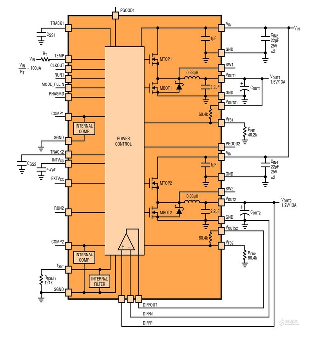 LTM4620双通道13A稳压器电路图