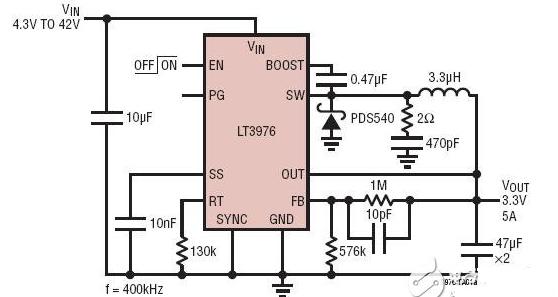 一款可調頻率、單片式、降壓型、可接受一個高達 40V 的寬輸入電壓范圍LT3976開關穩壓器