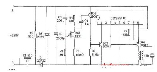 一款輸出的音頻信號經BG4放大后,驅動HTD發出聲響的電飯煲飯熟報知器電路圖