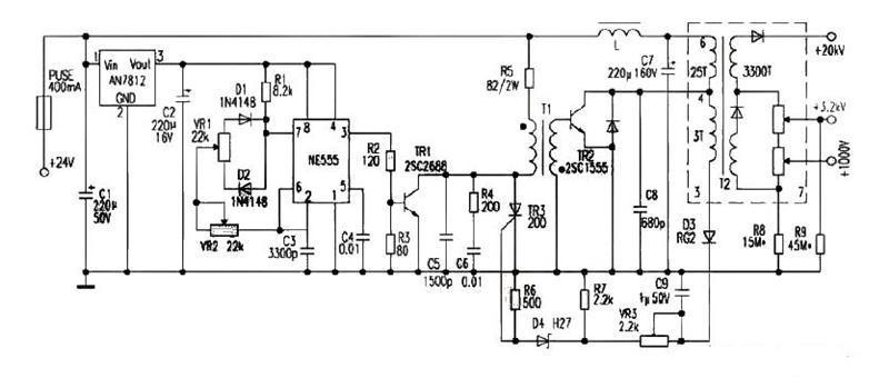 一款整个部件采用铝盒封装?#37327;?#25509;地£¬可减少对电路干扰的24V供电?#31185;?#26174;示器高压电源电路图