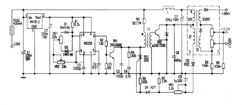 一款整個部件采用鋁盒封裝鋁殼接地,可減少對電路干擾的24V供電純平顯示器高壓電源電路圖