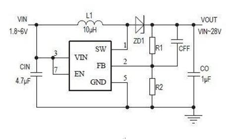 一款可以使使外部的肖特基二极管D1正偏并导通的PS61040典型应用电路图