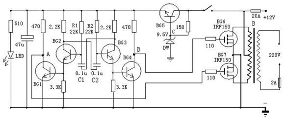 一款变压器可选有常用双12V输出的晶体管逆变器电路图