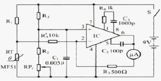 一款测量精度高,能记忆并有蜂鸣提示的人体体温的电子体温计电路图