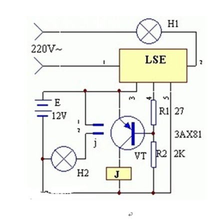 一款使用LES制作的能持续照明而不间断工作的的应急照明灯电路图