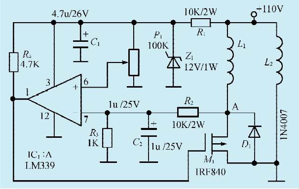 电流烧毁场效应管m1,m1可根据电机电压和功率选择