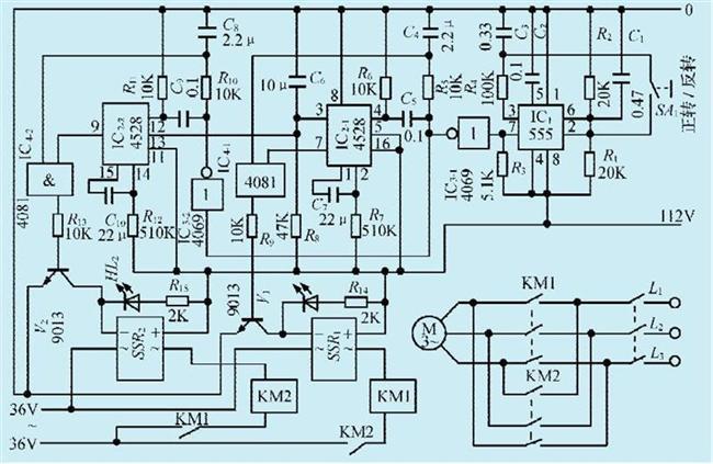 一款三相异步电机正反转手控电路