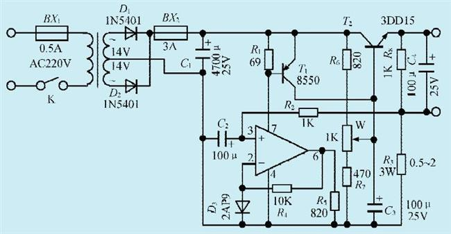 一款微型电钻电机自动调速电路
