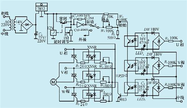 一款固态继电器电机启动电路