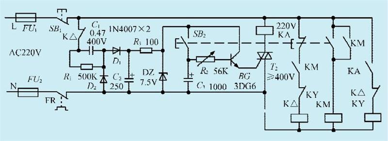 一款三相异步电机单相运行电路