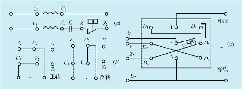 图 c 为三相倒顺开关与电机的接线图-电机倒顺接线 直流电机倒顺接线