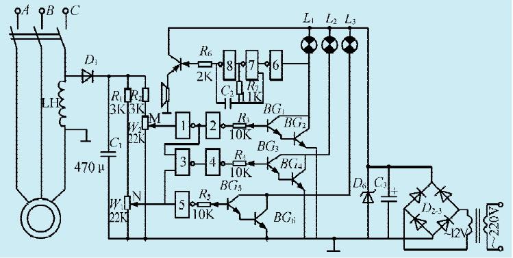 本文介绍的直流并激式电机的调速电路,是利用可控硅SCR导通角的变化,控制其电枢电压,从而达到调速的目的,电路如图1所示。   电路工作原理   D1、D2、D3、D4构成桥式整流电路,输出电压A端为正,B端为负。电机的激磁绕组通过可调电机R2就并接于此。正电压经电枢D6,向C2充电,当C2两端电压足够高时,双向触发二极管马便触发导通,此触发电流注人了可控硅SCR的控制极,使它导通。故调整W即可改变SCR的导通角,电机电枢的工作电压得到改变,电机的转速随之发生变化。   在可控硅SCR导通的每一半周末端