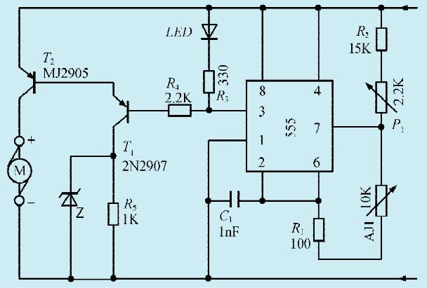 一款简易电机调速器电路图片