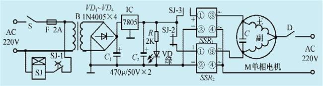 图1:一款单相电机正反转控制电路(一)