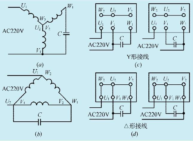 图1:一款三相异步电机改单相电源工作电路