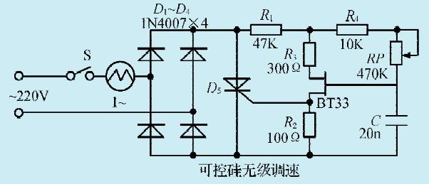 一款电风扇电机可控硅无级调速电路