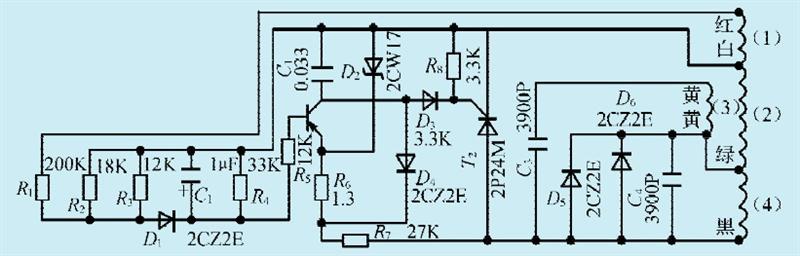 本文介绍一款单相汽油发电机。电路如图1所示。   电路路工作原理   图中绕组(1)直流电阻约5,为发电机的主绕组,正常工作时输出220V/50Hz交流电。绕组(2)直流电阻约5,为发电机副绕组。正常工作时约输出100V左右的交流电压,经晶闸管T2可控整流,提供正常发电所需的励磁电流。绕组(3)直流电阻约12,为附加发电绕组。当汽油机发动时,输出约11V交流电压,经二极管几半波整流给励磁绕组(4)提供起始励磁电流。绕组(4)直流电阻约10,为发电机励磁绕组,发电机输出电压的稳定,是通过控制励磁电