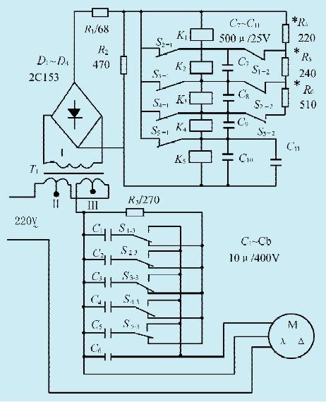 一款三相电机接单相电源的自动启动电路