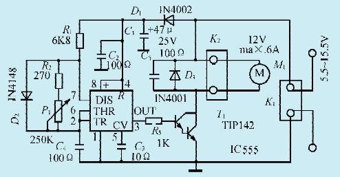 图 1  一款直流电机脉宽调速电路
