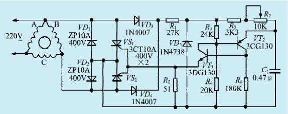 本文介绍的三相电机用单相电源电路无需移相电容,易于电机启动,工作可靠。电路如图1所示。   电路工作原理   二极管VD1、VD2及可控硅VS1、VS2构成双相电子开关,二极管VD3、VD4构成电源电压全波整流器,电阻R1和稳压管VD5构成稳压器,为控制电路提供电源,VT1、VT2构成可控硅触发电路。电子开关的接通时刻由电位器R7调整,当电位器R7的阻值最小时,电子开关在电机绕组B上最大电压时刻即可导通,阻值最大时电子开关截止。电机启动前,电位器R7的中心移动端应置于图示下面位置,相应的电流相移最大,