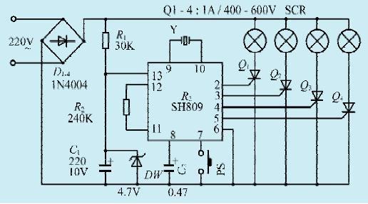 一款音乐跳动彩灯控制电路