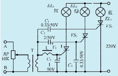 图1一款简易音乐彩灯控制电路