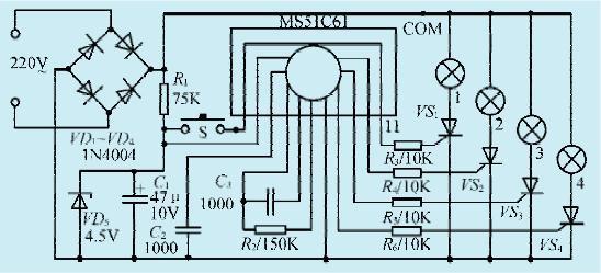 一款倒顺流水灯控制集成电路
