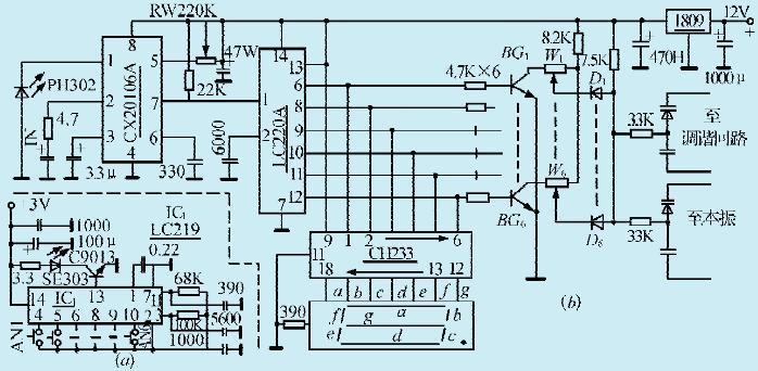 一款带显示遥控的电子调谐电路