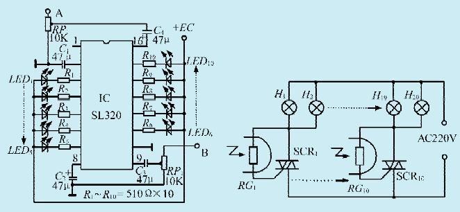 一款音响彩灯控制电路