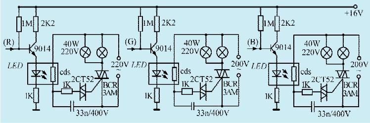 一款受彩电画面控制的彩灯电路