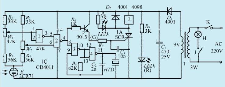 一款书写灯光自动控制电路