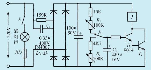 一款利用继电器制作彩灯控制电路