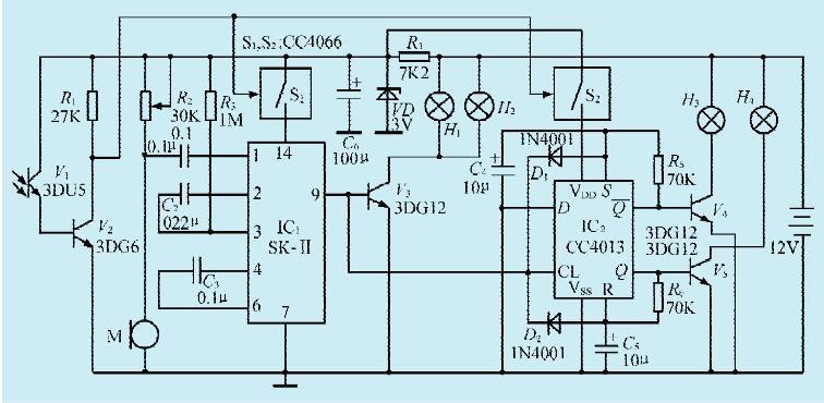 一款电子路标灯控制电路