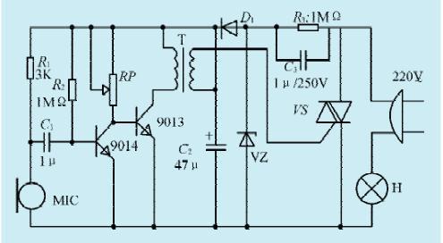 一款声控彩灯控制电路