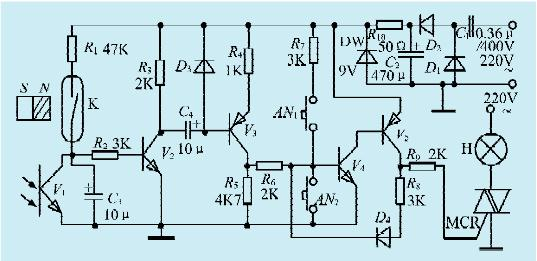 图1一款门控电灯开关电路