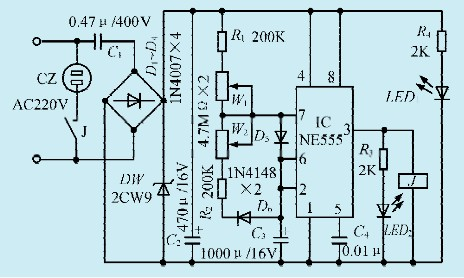 图1一款外置式冰箱温控保护器电路