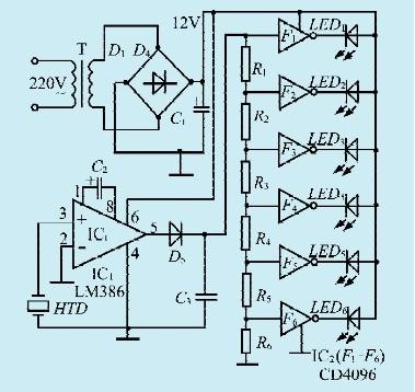 一款声音响度显示器电路