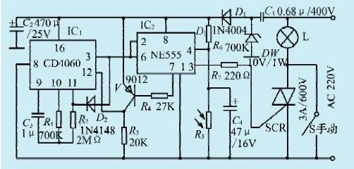 一款长延时光控照明控制器电路
