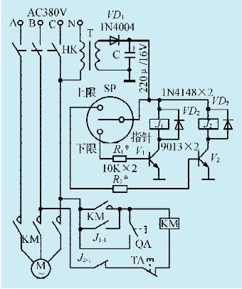 一键启停电路图-如此循环往复,将气罐内压力始终保持在上、下限压力之间.电源变压
