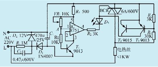 本文介绍的恒温电路,恒温精度可达0.2。且具有可控硅过零触发,热敏电阻断线保护等功能。电路如图1所示。 电路工作原理 市电电压经电容C2降压,D1整流,C1滤波后供控制电路作电源。D2稳压二极管的作用是对C1上的整流电压加以限制,使其基本上稳定在12V。图中的TWH8751是一种功率集成开关电路,内部具有过压、过流、过热保护。这里作比较放大、驱动之用。在8751的(5)和(3)脚问,内部集成有一个6.